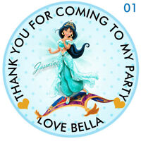 "30 x Personalised Princess Jasmine 50mm 2""party Stickers Party Thank You Seals"