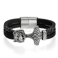 Men's Stainless Steel Thor's Hammer Wolf Head Magnetic Buckle Leather Bracelet