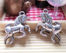 12pcs Antique Silver Horse Unicorn Charm Pendants 15x20mm A301-5