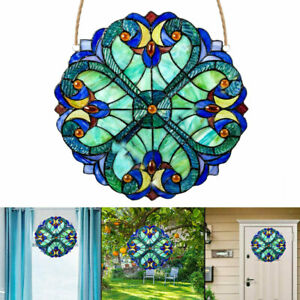 Colorful Window Panel Vintage Stained Glass Sun Catcher Home Living Room Decor