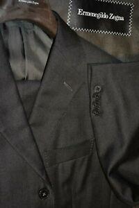 $3695 MINT Ermenegildo Zegna Gray Serge Wool Suit 40S 35W ITALY