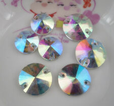 cusp round clear Ab glass crystal rhinestone Faceted Jewels silver bottom sew