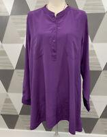 EILEEN FISHER Women's Size L Purple Silk 3/4 Button Front Long Sleeve Top blouse
