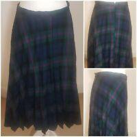 True Vintage 70s Checked Tartan Pleated Boho Green Pink Blue Midi Skirt Kilt 12