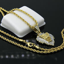 "Gold Plated Iced Mini Lion Face Hip-Hop Pendant 24"" Rope Chain Necklace D515"
