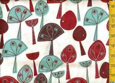 1/2 yd Snuggle FLANNEL Red Aqua Chocolate Brown Arty Trees on White  BTHY