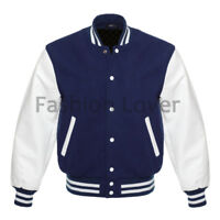 Varsity Baseball Jacket in Navy Wool and Genuine White Leather Sleeves XS-7XL