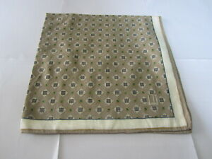 """USED BROWN GEOMETRIC PATTERN COTTON 18""""HANDKERCHIEF HANKY  POCKET SQUARE FOR MEN"""