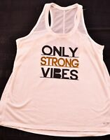 women's champion white workout top size medium ONLY STRONG VIBES razor back mesh