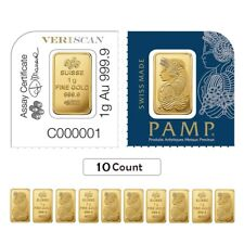 Lot of 10 - 1 gram Gold Bar - PAMP Suisse Lady Fortuna .9999 Fine (In Assay from