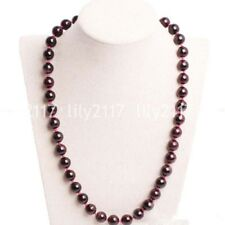 "New 8mm Natural Wine Red Garnet Round Gemstone Beads Necklace 18"" AAA"
