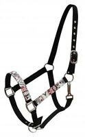 Showman BLACK Nylon Horse Halter w/ Multi Colored Navajo Print Overlay! NEW TACK