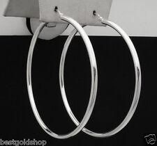 "1.75"" 2mm X 45mm Large Plain Shiny Hoop Earrings Real 925 Sterling Silver"