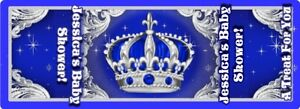 BLUE AND SILVER LITTLE PRINCE CROWN HERSHEY NUGGET WRAPPERS BABY SHOWER FAVORS