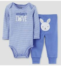 """NEW Carter's JOY 9 Month Baby Boy """"Somebunny To Love"""" Easter Bodysuit&Pant~Blue"""