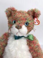 TY Classic Allioop Plush Orange Kitty Cat Stuffed Animal Toy Green Bow 2000