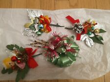 4 Vtg Christmas Corsage Floral Pick Mercury Glass Berry Beads & Flocked Leaves s
