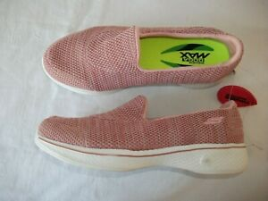 STUNNING SKECHERS GOGA MAX PINK TEXTILE SLOP ON TRAINERS SIZE 4 UK BNWOB