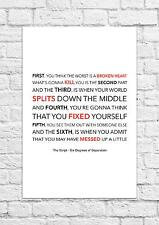 The Script - Six Degrees of Separation - Song Lyric Art Poster - A4 Size