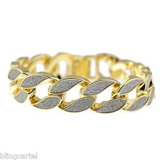 Sand Blast Bracelet Hip Hop Cuban Link Gold Tone Heavy Chunky 18MM Wide Men 8.5""
