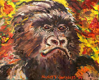 """Gorilla Ape 8""""x10"""" Limited Edition Oil Painting Print Signed Art by Artist"""