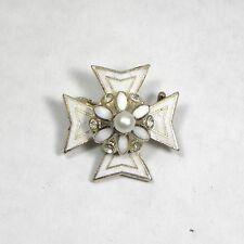Vintage Coro Maltese Cross 3-D Rhinestone Pearl Enamel