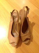 CHLOE US 39.5 Leather Heels Sandals Shoes Ankle Strap Platforms,    VK