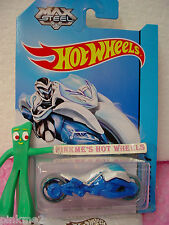 Case E/F 2014 i Hot Wheels MAX STEEL MOTORCYCLE #85∞White w/Blue∞Tooned II