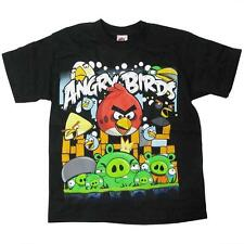 NEW ANGRY BIRDS GAME Black Short Sleeve SHIRT Boy size L 14-16