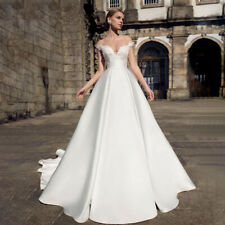 Off The Shoulder Satin Appliques A Line Wedding Dress White Ivory Bridal Gown