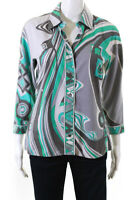 Emilio Pucci Women's Button Down Collared Top Cotton Gray Teal Green Size 8