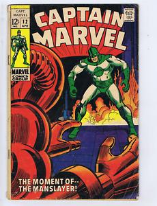 Captain Marvel #12 Marvel 1969 the Moment of the Man-Slayer !