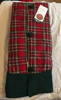 """NEW December Home 52"""" Red Green Plaid Christmas Tree Skirt Multi Color L👀k"""