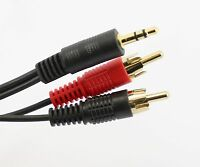 10m 3.5mm Jack to 2 RCA Cable Twin Phono Stereo Long AUDIO Lead GOLD