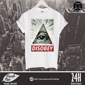 Disobey T Shirt Triangle Eye of Providence Illuminati Mason NWO OBEY