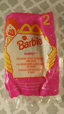 1998 McDonald's Happy Meal Toy Mattel Barbie #2 in Demin Figure and Base New