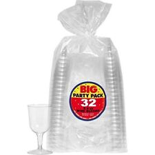 2 Packs of 32 Amscan 5.5 oz. Clear Reusable Plastic Wine Glasses Cocktail and Dr