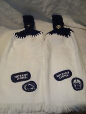 Penn State Set of 2 Handmade Crochet Kitchen Fridge Golf Bar Hand Towels NEW