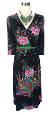 LEONA EDMISTON Dress - Swirly Bird Wrap Floral Black Pink Green Blue 3/4 - XS/8