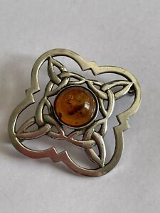 Vintage 925 Silver & Baltic Amber Celtic Style Openwork Pin Brooch 5.4 Gram