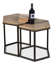 "20"" T Vanna Set of 2 Bunching Table Shagreen Leather Geometric Iron Base"