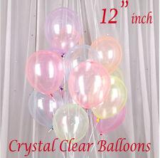 "12"" Inch Clear Balloons Transparent Wedding Birthday Xmas Party Decor UK"