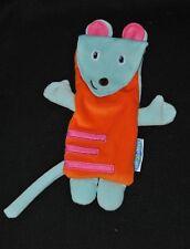 Peluche doudou souris plat LES INCOLLABLES pochette bleu orange rose TTBE