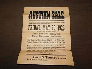 VINTAGE 1928 GEORGE WILLIAMS HOLLAND PATENT  BUNGALOW HOUSE AUCTION SALE POSTER