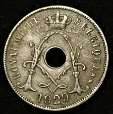 """Pièce Fautée : Belgique - 25 Centimes - 1929 (""""9"""" surélevé)"""