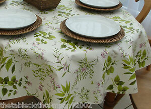 140 x 200cm Oval Wipe Clean PVC Tablecloth - Herb Garden - 6 Seater