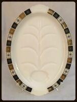 Mid Century Atomic Snowflake Black/Gold Serving Platter RARE WHITE PLATE!