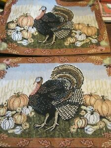 """THANKSGIVING Set of 2 Tapestry Placemats-13""""x18"""" TURKEY&HARVEST MOTIF"""