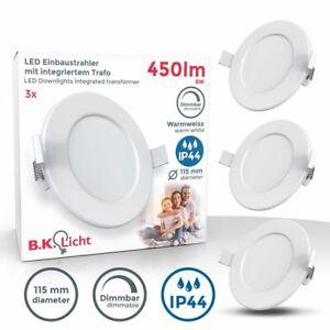 3x LED Einbauspots dimmbar Bad Strahler Einbauleuchten weiß Deckenspots IP44