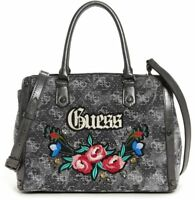 New Womens GUESS Black Signature Embroidered Floral Purse Crossbody Bag Satchel